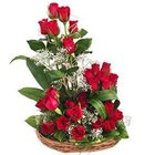 Blushing Assemble of 25 Dutch Red Roses in a Basket