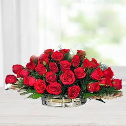 Impressive Selection of Red Roses with Fillers in Basket