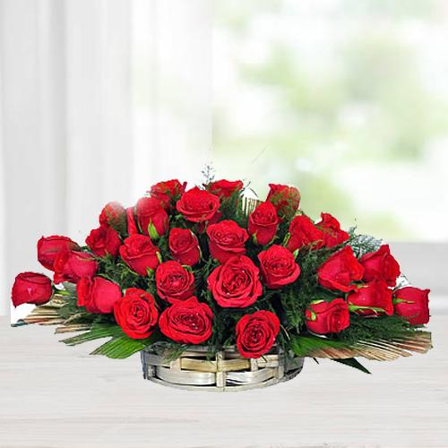 Breathtaking Arrangement of Red Roses Basket