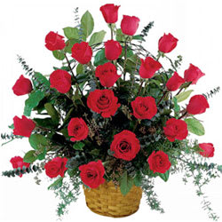 Captivating Basket of Red Roses