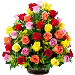 Exotic Multicolored Roses Basket