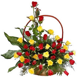 Awesome Basket of Red N Yellow Roses
