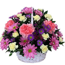 Basket of Attractive Carnations and Roses