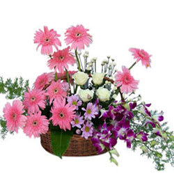 Bright Assorted Florals Basket Arrangement