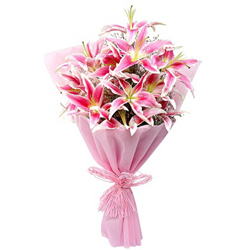 Captivating Bouquet of 10 Pink Lily