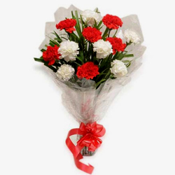 Sophisticated Bouquet of 12 Red n White Carnations