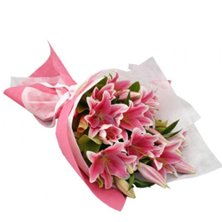 Pleasant Bouquet of 10 Pink Lilies
