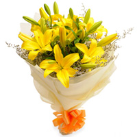 Deliver Yellow Lilies Bouquet Online