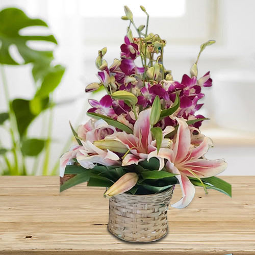 Bright Pink Oriental Lilies n Purple Orchids Arrangement