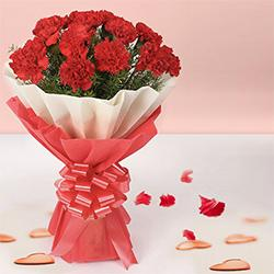 Now order online for this regal Bouquet of Fresh Red Carnations with tissue wrap