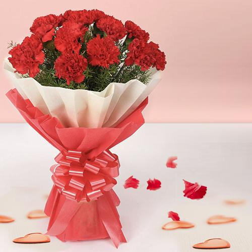 Beautiful Red Carnations Bouquet