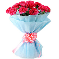 Order for this mesmerizing Bouquet of Pink Carnations in tissue wrapping