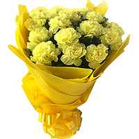 Now order online for this attractive Hand Bouquet of Yellow Carnations in tissue