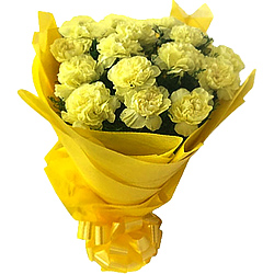 Classic Yellow Carnations Bouquet