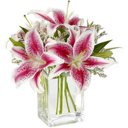Ideal display of Pink Lilies in Glass Vase