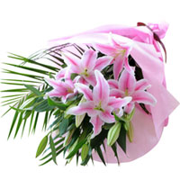 Elegant Pink Lilies Bouquet designed in a Tissue