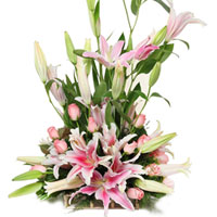 Luminous Pink Lilies N Pink Roses Arrangement