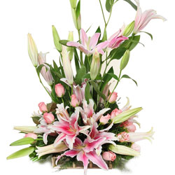 Cheerful Display of Lilies N Roses