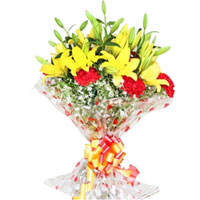 Exquisite Bouquet of Yellow Lilies N Red Carnations