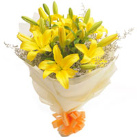 Radiant Bouquet of Yellow Color Lilies