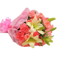 Delightful Hand Bunch of Pink Roses With Lily Stems N Pink Carnations