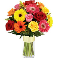 Lovely Arrangement of Assorted Flowers in a Glass Vase
