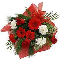 Exquisite Bunch of Red & White Carnations with Red Roses N Red Gerberas