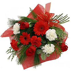 Dazzling Red N White Flowers Bouquet