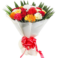 Delicate Hand Bunch of Carnations N Roses with Gerberas