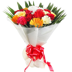 Awesome Bouquet of Carnations N Gerberas with Roses