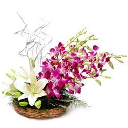 Fantastic Basket of Lilies N Orchids