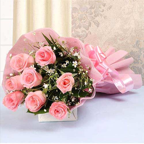 Blushing Pink Roses Bouquet
