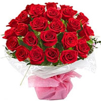 Eye-Catching Compilation of Two Doz Red Color Roses in Bouquet