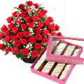 50 Awesome Red Roses with 500 Gms Kaju Barfi