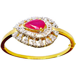 Express Love with Designer Red Stone and Rhinestone Studded Fancy bangle from Anjali
