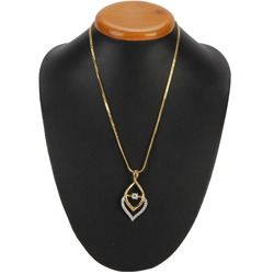 Enticing Flame Gold Color Necklace with Fernanda Pendant