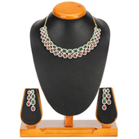 Plush Pomp Necklace with Earrings Set