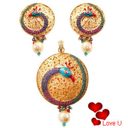 Suave Necklace Set in Peacock Design