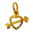 Decorative Cupid Heart Shaped Gold Pendant from Anjali (22K)