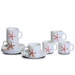 LaOpala Tea Cup Saucer Set of 6 pcs