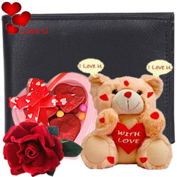 Charming Dark Brown Coloured Gents Wallet from Longhorn with 3 pcs Heart Shape Chocolate & I Love You Singing Teddy with Free Velvet Rose