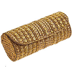 Arresting Ladies Golden Evening Clutch Purse made of Leather from Spice Art