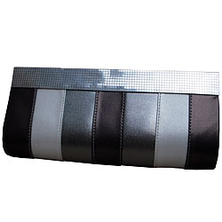 Exquisite Ladies Clutch Bag of Silver colour made of Leather from Spice Art
