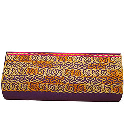 Charismatic Leather Clutch Bag in Purple for Ladies with Embroidered Works from Spice Art