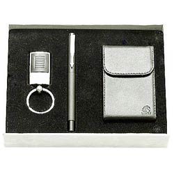 Fabulous gift set along with Steel finish Key Ring, Pen   Visiting Card Holder