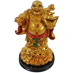 Precious Standing Golden Laughing Buddha with Hint of Prosperity