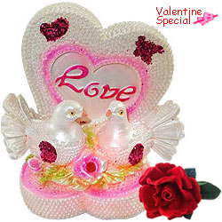 Remarkable LED Lighted Love Heart with Birds Set with a Free Velvet Rose