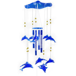 Blissful Blue Dolphins and Beads Wind Chime