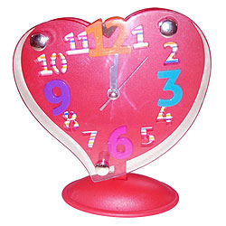 Good Old Days Red Heart Shaped Alarm Clock