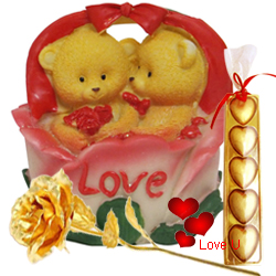 Kissable Twin Teddy with Roses in a Love Basket with 1 Golden Rose and 5 pcs Heart Homemade Chocolate